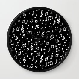 Music notes in black background Wall Clock