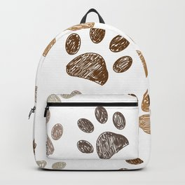Brown colored paw print background seamless Backpack