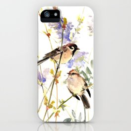 Sparrows and Spring Blossom iPhone Case