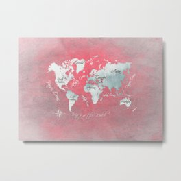 world map 143 red white #worldmap #map Metal Print