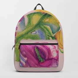 Tropic leaves and flowers Backpack