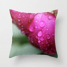 Rain Drops on Roses Throw Pillow