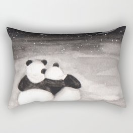 Panda love -watercolor Rectangular Pillow