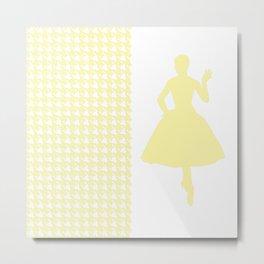 Cream Modern Houndstooth w/ Fashion Silhouette Metal Print