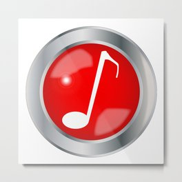 Red Musical Note Button Metal Print