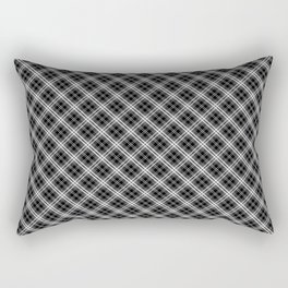 Classic Black White and Grey Mini Tartan Plaid Check Rectangular Pillow