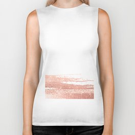 Rosegold brush strokes on white Biker Tank