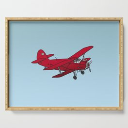 Red biplane Serving Tray