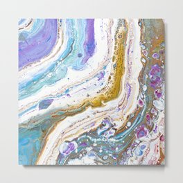 Abstract contemporary painting art, galaxy, fluid painting, space, universe purple pink blue Metal Print