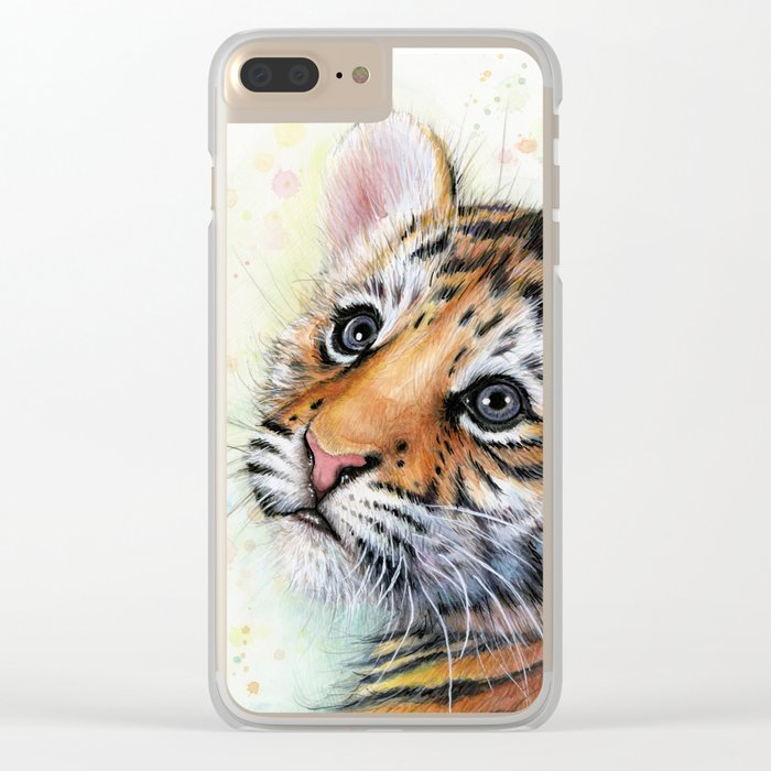 Tiger Cub Watercolor Cute Baby Animals Clear iPhone Case