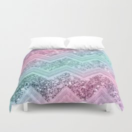 Mermaid Glitter Chevron #2 #shiny #pastel #decor #art #society6 Duvet Cover