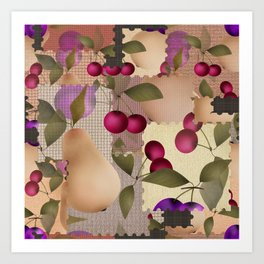 Old scraps of fabric with fruit . Art Print