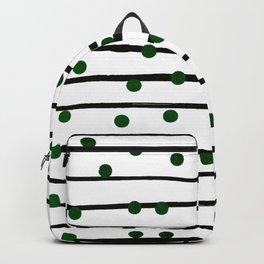 Modern black forest green polka dots stripes Backpack