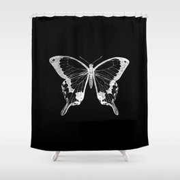 Vintage Butterfly Illustration on Black Background Shower Curtain