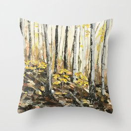 Autumn Forest Walk Paper Collage Throw Pillow
