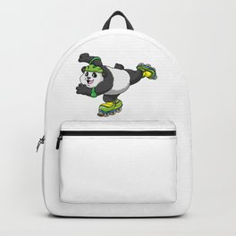 Panda as Inline skater with Inline skates and Helmet Backpack