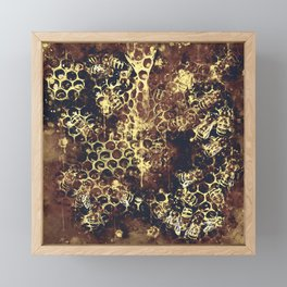 bees fill honeycombs in hive splatter watercolor old brown Framed Mini Art Print