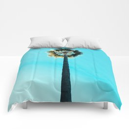 Modern tropical palm tree blue turquoise sky photography Comforters