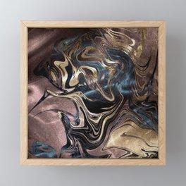 Marble Paint Swirl Trendy Abstract Glitter Rose Gold Pink Teal Turquoise Framed Mini Art Print