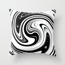 Black And White Spiral Swirl Throw Pillow