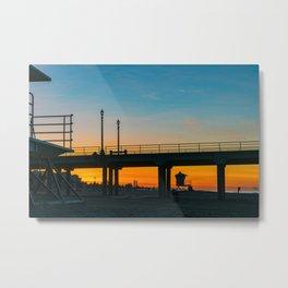 Sunrise Under Huntington Beach Pier. Metal Print