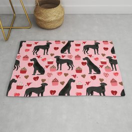 Great Dane black coat valentines day dog breed cupcakes love hearts dog must haves Rug