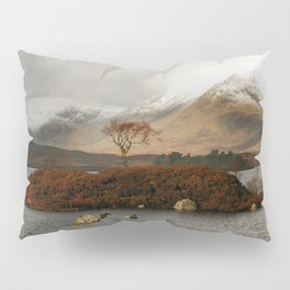 Lone Tree and Dusting of Snow in Mountains of Scotland Pillow Sham
