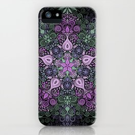 Baroque Garden Purple Green Mandala iPhone Case