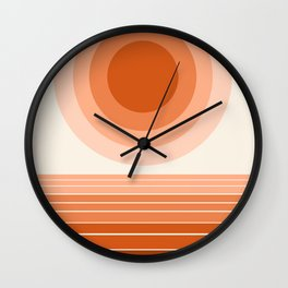 Cool Beans - minimal retro vibes sunset socal ocean desert 70s style 1970's art Wall Clock