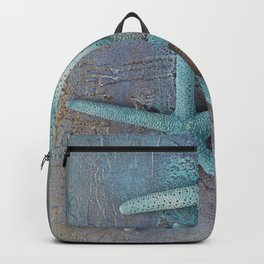 Turquoise Starfish on textured Background Backpack