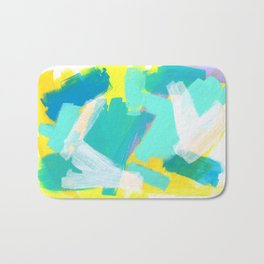 Be Kind, Be OK - mint modern mint abstract painting pastel colors Bath Mat