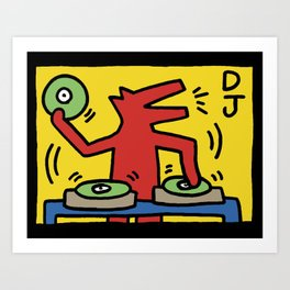DJ Haring Dog Rave Party Art Print