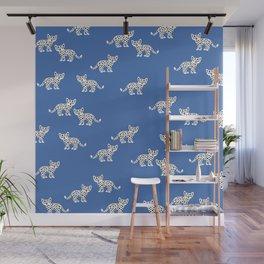 Little baby leopard kids cat pattern eclectic blue Wall Mural
