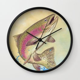 End Of The Line // Rainbow Trout Jumping Out Of Splashing Water // With Lure at Sunset // Fish On! Wall Clock