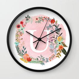 Flower Wreath with Personalized Monogram Initial Letter U on Pink Watercolor Paper Texture Artwork Wall Clock