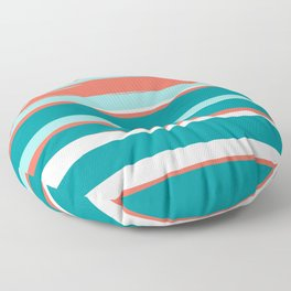 Colorful Stripes, Coral, Teal and Aqua Floor Pillow