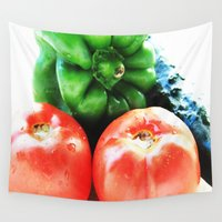 vegetables Wall Tapestries featuring Colors of vegetables by Carlo Toffolo
