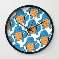 squirtle Wall Clocks featuring  1 Squirtle, 2 Squirtle, 3 Squirtle, 4 by pkarnold + The Cult Print Shop