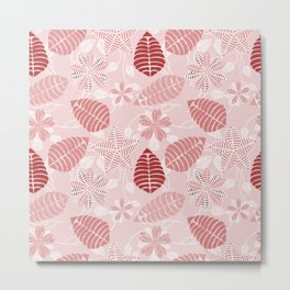 Red and White Floral Leaf Pattern shades of red Metal Print