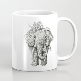 Elephant Art - Black and White Elephant - Flower Crown - Animal Art Coffee Mug
