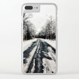 Snowy Roads Clear iPhone Case