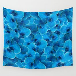 Midnight Pacific Blue Orchids Wall Tapestry