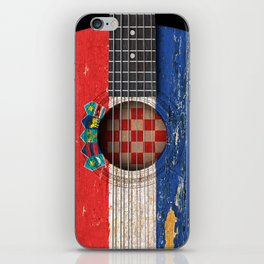 Old Vintage Acoustic Guitar with Croatian Flag iPhone Skin