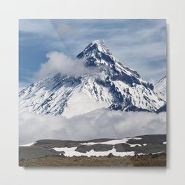 Scenery view on steep slope cone of volcano and blue sky with clouds Metal Print