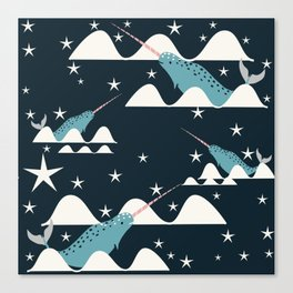 narwhal in ocean blue Canvas Print