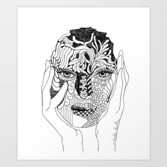 Her Love Mask Art Print