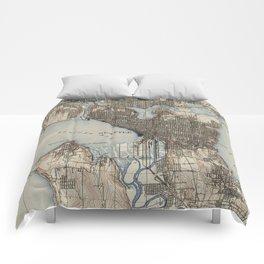 Vintage Map of Seattle Washington (1908) Comforters