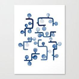 Blue Watercolour Zig Zag Canvas Print