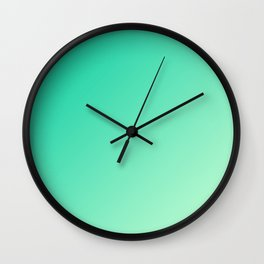 Dark Cyan Green and Light Cyan lime Green Gradient Ombré  Wall Clock