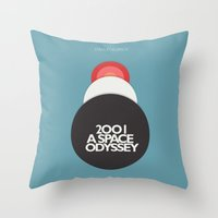 stanley kubrick Throw Pillows featuring 2001 a Space Odyssey - Stanley Kubrick Movie Poster by Stefanoreves